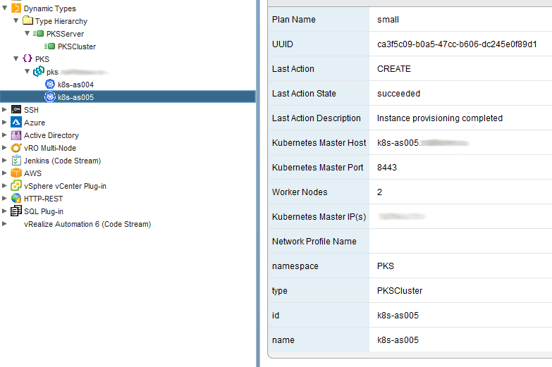 vRO DynamicTypes PKS cluster information